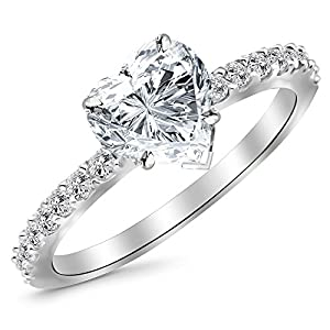 0.8 Ctw 14K White Gold GIA Certified Heart Cut Classic Side Stone Pave Set Diamond Engagement Ring, 0.5 Ct G H VS1 VS2 Center