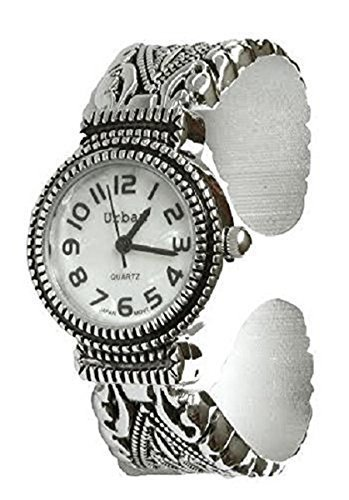 Urban / JAS Silver Plated Ladies Bracelet Bangle Metal Watch Antique Marcasite Style Extra Battery (Watch Ladies Antique)
