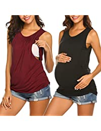 a29c42307cf28 Women's Maternity Nursing Top Breastfeeding Tank Top Tee Shirt Double Layer  Sleeveless Pregnancy Shirt