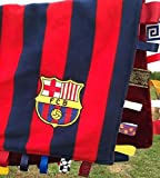 FC Barcelona ~ Striped Baby Blanket with Ribbon Tabs