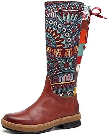 socofy Leather Knee Boots, Women's