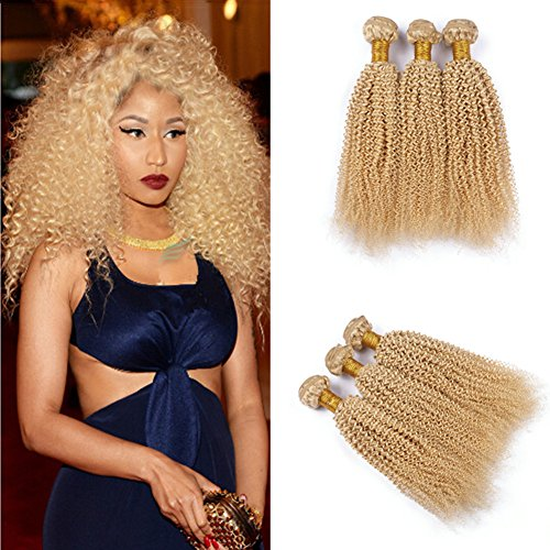 - Ruma Hair Mongolian Blonde Virgin Hair Kinky Curl 3/4Pcs Lot Platinum Blonde Afro Kinky Curly Hair Wefts #613 Gold Blonde Human Hair Weave Bundles (20''20''20''20'')