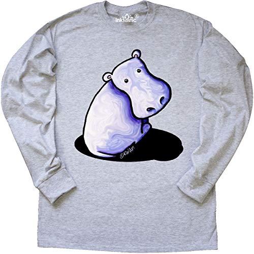 inktastic Groovy Purple Hippo Long Sleeve T-Shirt X-Large Ash Grey - KiniArt
