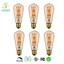 STOELE Vintage Edison LED Bulb, Dimmable Flicker Free 4W ST64(ST21) Antique LED Bulb Squirrel Cage Filament Light For Decorate Home, Gold Tint Finish,E26 base, 2200K, Warm White, Pack of 6