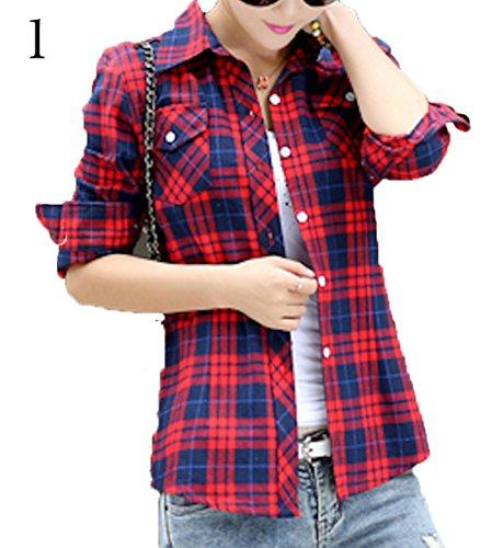 きらめきテープ振る舞うチェックシャツ レディース ブラウス Tシャツ セーター チュニック トップス インナー カットソー ネック (24, 2XL)