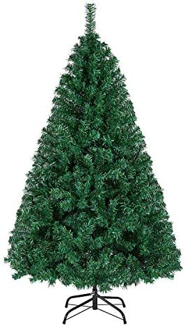 Yaheetech Albero di Natale Artificiale 150 cm 718 Rami Folto in PVC Effetto Realistico Base in Metallo Pieghevole Portatile
