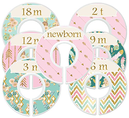 Mumsy Goose Baby Girl Clothes Dividers Nursery Closet Dividers Closet Organizers Boho Gold