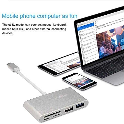 Mengonee 5in1 USB C Hub 3.0 Type-C Switcher adaptateur de charge Data Sync lecteur de carte pour MacBook ordinateur portable
