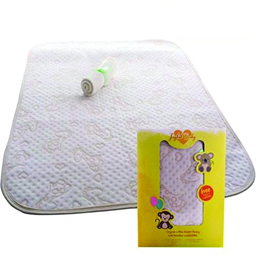 Large Organic and Bamboo Changing Pad Liners- Newborn Portable Pads Extra Large, Waterproof, Soft and Reusable for Changing Table - Gift for Baby Registry and Shower
