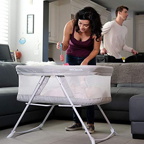 2in1 Rocking Bassinet One-Second Fold Travel Crib Portable Newborn Baby,Gray