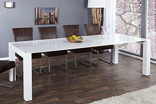 Moderner Design Esstisch Weiß Hochglanz - Extra Lang - Ausziehbar 180 - 270 cm von Casa Padrino - Esszimmer Tisch