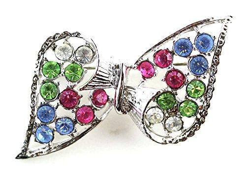 Bow Pin With Multi-Color Diamond Rhinestones -Silver Tone Fashion - Bow Brooch Tone