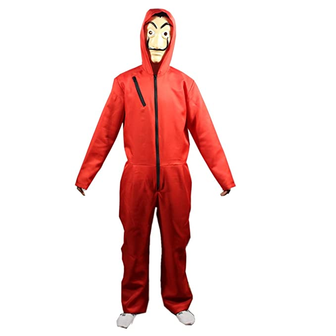 The Paper House La Casa De Papel Costume Halloween Hoodie Coverall Jumpsuit Red with Mask Unisex