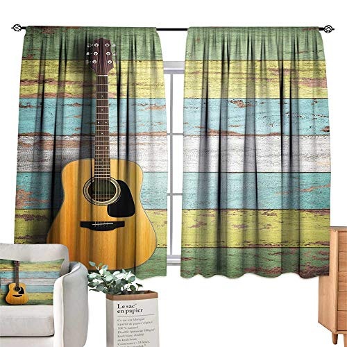 Unprecall Music Decor Blackout Curtain Acoustic Guitar on Colorful Painted Aged Wooden Planks Rustic Country DecorMulticolor Small Window Curtain W72 x L63