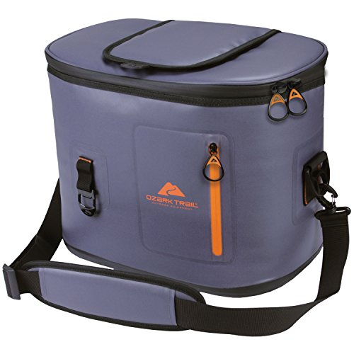 Price comparison product image Ozark Trail Premium and Spacious 24-Can Camping and Outdoor Cooler, Dark Grey with Orange Accent, with Front Pocket and Bottle Opener Attachment Point!