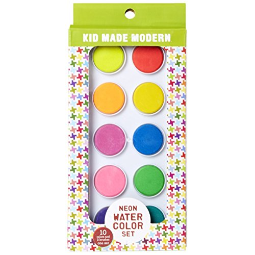 Kid Made Modern Neon Watercolor Big Cakes - Neon Paint Set for Kids - 10 Vibrant Colors