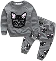 KONFA Toddler Baby Boys Girls Cats Print Sweatshirt+Pants,Suitable for 1-6 Years Old,2Pcs Kids Lovely Outfits