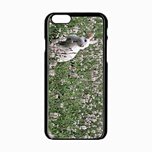 iPhone 6 Black Hardshell Case 4.7inch rabbit grass sit flowers Desin Images Protector Back Cover