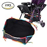 Waterproof Stroller Bottom Storage Bag, 2PCS Installable Baby Car Buggy Pushchair Organizer Basket Shopping Case with Rope, Fit for All kinds of Stroller to Place Kid's and Mothers's Supplies