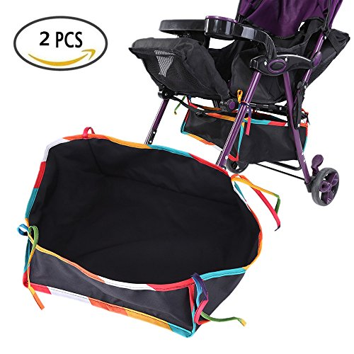 Waterproof Stroller Bottom Storage Bag, 2PCS Installable Baby Car Buggy Pushchair Organizer Basket Shopping Case with Rope, Fit for All kinds of Stroller to Place Kid's and Mothers's Supplies by Yosoo