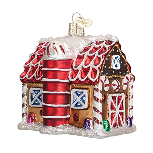 Old World Christmas Ornaments: Gingerbread Barn Glass Blown Ornaments for Christmas Tree