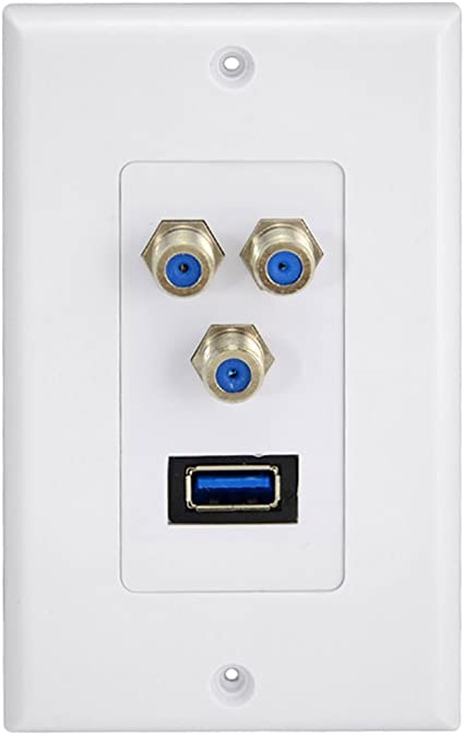 1 x USB 3,0 3 x televisores planos de la placa de pared Satellite Coaxial Jack Cable Coaxial para TV de circuito cerrado: Amazon.es: Electrónica