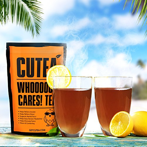 CUTEA Whooo Cares! Tea: Relieve Anxiety and Stress, Support Mental Focus, and Ease Tension with Natural Antioxidant Rich Herbs - 28 day