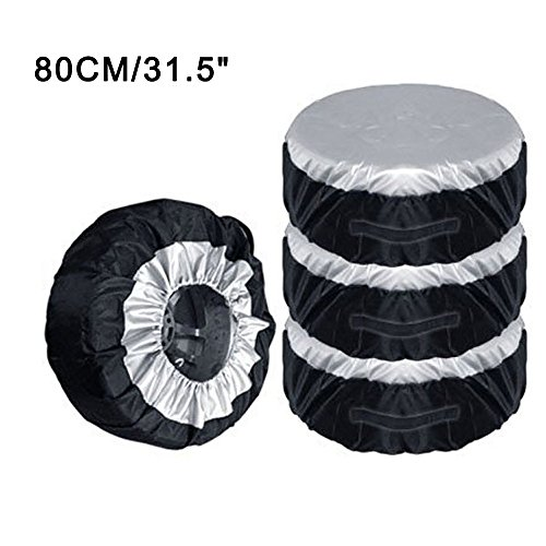 (FOLCONROAD Car Spare Wheel Cover Tire Cover Dustproof Sun Protection Cover Waterproof Oxford Cloth [Set of 4] 31.5