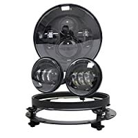 """7"""" Inch Daymaker LED Headlight Motorcycle Projector for Harley Davidson with 4.5 inch Passing fog lights Lamps with 7"""" Adapter bracket Ringfor Road King Road Glide Street Glide Electra Glide"""