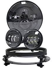 """VOSICKY Black Harley 7 Inch Round LED Headlight with 4.5 inch fog lights Lamps Passing Lamps Motorcycles with 7"""" Adapter bracket Ring For Harley Davidsion Motorcycle"""