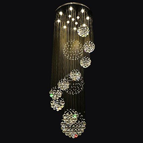 7PM W31.5″ X H86.6″ Large 11 Sphere Rain Drop Clear LED K9 Crystal Chandelier