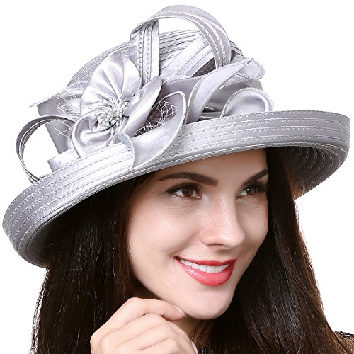 F&N STORY Lady Kentucky Derby Dress Church Wedding Party Hat Drown Brim S043 (Satin-Grey)