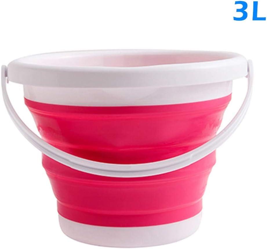 Baifeng Plegable Silicona Cubo Plegable Cuenca Cuenco para Viaje Camping Senderismo Pesca 3L Rosa Roja