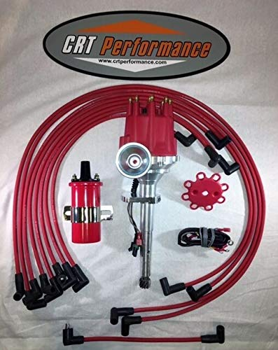 COMPATIBLE WITH FORD FLATHEAD 239-255 V8 Small HEI Distributor RED + 45K Coil + Spark Plug Wires