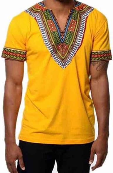 Camiseta Estampada de Estilo étnico Africano de Moda para Hombres, suéter de Estilo Oriental, con Cuello en V y Manga Corta