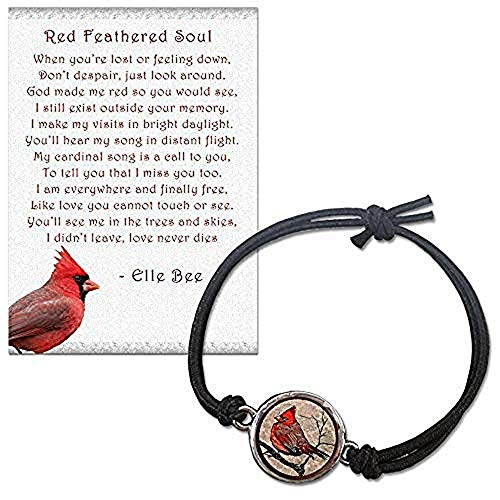(Lola Bella Gifts and Spirit Lala Red Feathered Soul Cardinal Reversible Size Small - Medium Stretch Bracelet with Backside Love Never Dies w/Poem Card, Gift Box Grief Sympathy Gift)
