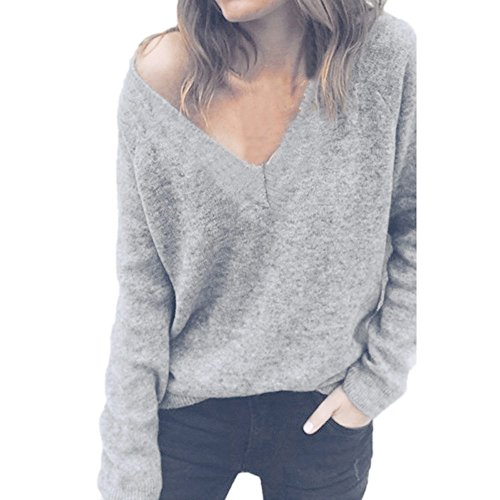 LISTHA V Neck Sweater Pullover Women Long Sleeve Knitted Blouse Casual Tops ()