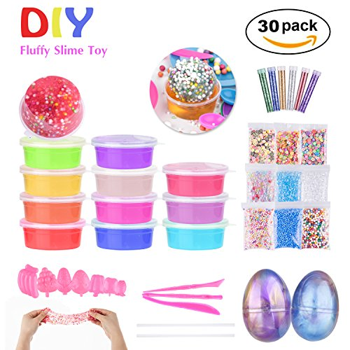 Super Fluffy Slime Kit, 12 Colors Crystal Slime Mud, 2 Iridescent Glitter Putty Eggs Soft Stress Relief Sludge Toy for Kids Adult with Colorful Foam Balls, Holographic Glitter Shake Jars for DIY Slime