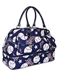 Ever Moda Women's Drop Bottom Duffel Bag Collection (Navy Baseball)