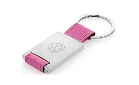 Volkswagen Synthetic Leather Rectangle Keychain Logo (Pink)