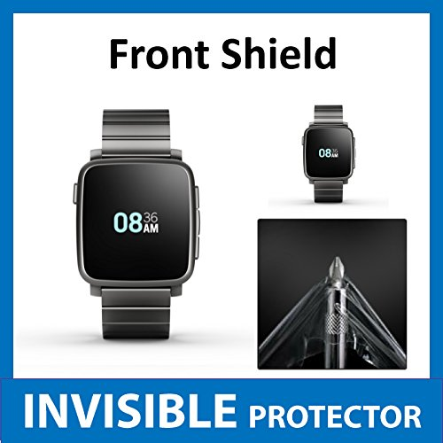 Pebble Time STEEL Smart Watch Front INVISIBLE Screen Protector Film (Front Shield included) Military Grade Protection Exclusive to ACE CASE