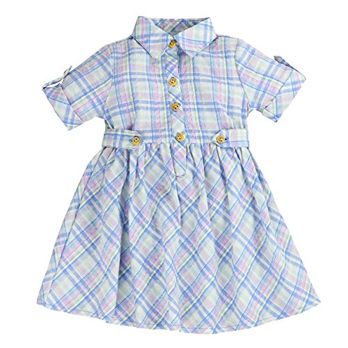 MARIA ELENA - Toddlers and Girls Light Cotton Sweetheart Shirt Dress in Blue Plaid 4T