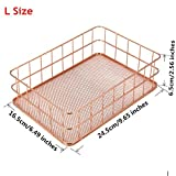 TO_GeT For Home Tools_TgT Metal Mesh Storage Baskets Sundries Cosmetics Holder Organizer Home Office Table Decoration Rose Gold Size L