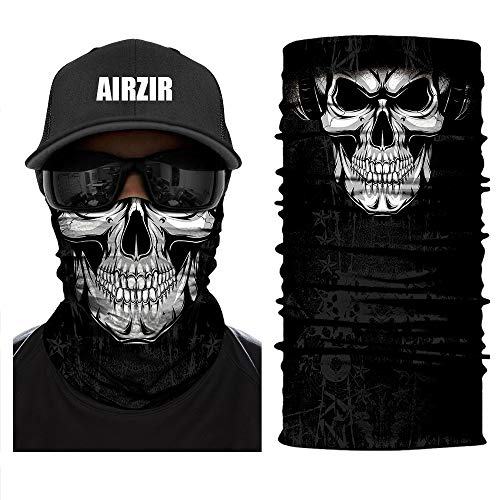 Airzir Skull Face Mask Premium Breathable Seamless Tube Motorcycle Face Mask Wind Dust UV Protection Moisture Wicking Microfiber Face Mask for Motorcycle Riding Cycling Hiking Climbing -