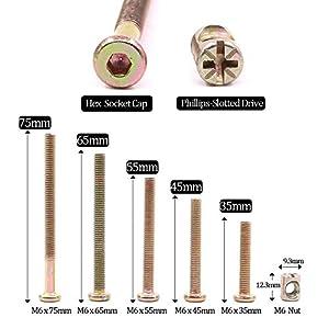 Hilitchi 100-Pcs M6 x 35/45 / 55/65 / 75mm Zinc Plated Hex Drive Socket Cap Furniture Barrel Screws Bolt Nuts Assortment Kit for Furniture Cots Beds Crib and Chairs