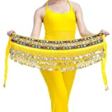 AUTULET Yellow Belly Dance Hip Scarves Waist Chain for Girls with 248 Coins Belly Dancer Accessories