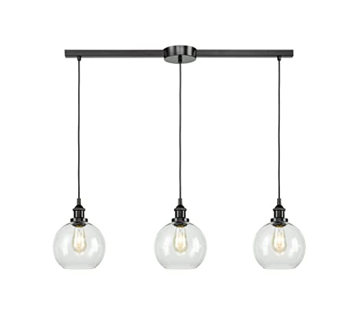 Exceptionnel EUL Industrial Kitchen Island Lighting Linear Pendant Lighting Clear Glass  Globe Oil Rubbed Bronze 3