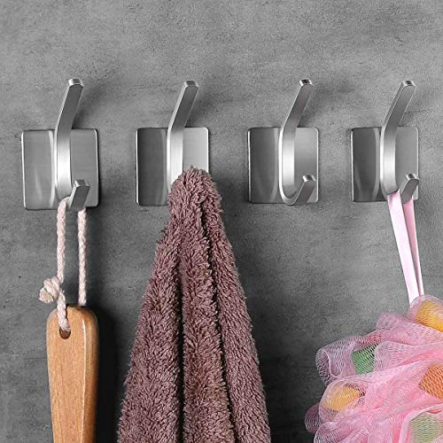 NEXCURIO Self Adhesive Hooks/Towel Hooks-Heavy Duty Wall Hanger Hanging for Robe Coat Bag Stick on Wall - Bathroom Kitchen Office Organizer, Brushed Stainless Steel (4 Pack)