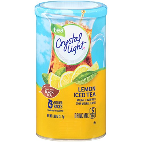 Crystal Light Drink Mix, Lemon Iced Tea, Pitcher Packets, 4 Count (Pack of 4 Canisters) (Tea Iced Lemon Sugar Free)