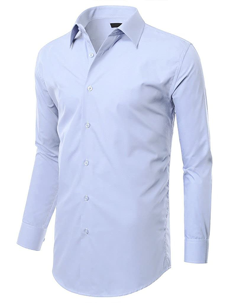 Hwby Mens Stretch Slim Fit Dress Shirt Small To Xx Large At Amazon